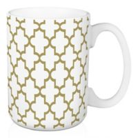 Designs Direct Gold Quatrefoil 15 oz. Coffee Mug in White