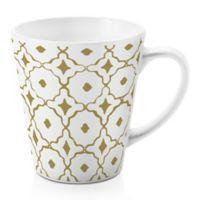 Designs Direct Gold Tile 12 oz. Latte Mug in White