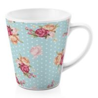Designs Direct Floral Dot 12 oz. Latte Mug in Blue