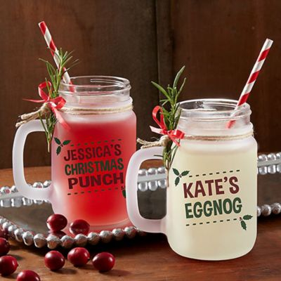 Eat Drink Be Merry Frosted Mason Jar