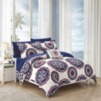 Chic Home Barella 8-Piece Reversible King Comforter Set in Navy