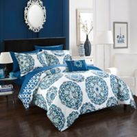 Chic Home Barella 8-Piece Reversible King Comforter Set in Blue