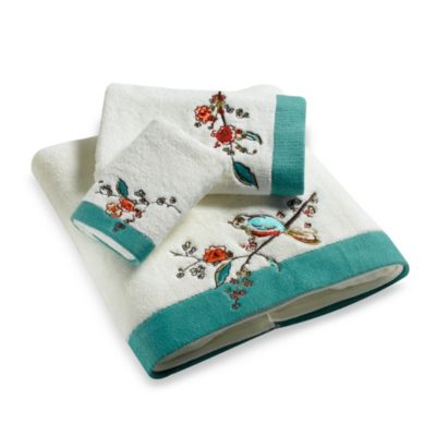 Simply Fine Lenox  Chirp Embroidered Hand Towel. Buy Teal Hand Towel from Bed Bath   Beyond