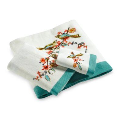 Simply Fine Lenox  Chirp Print Hand Towel. Buy Teal Hand Towel from Bed Bath   Beyond