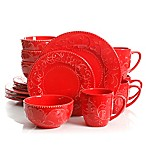 Laurie Gates Cassis 16-Piece Dinnerware Set in Red