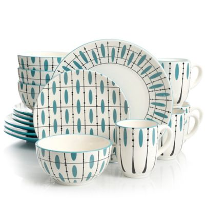 Laurie Gates Luminescent 16-Piece Dinnerware Set in White/Teal  sc 1 st  Bed Bath u0026 Beyond & Buy Teal Dinnerware Sets from Bed Bath u0026 Beyond