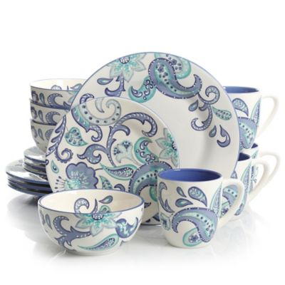 Laurie Gates Roxanna 16-Piece Dinnerware Set in White/Blue  sc 1 st  Bed Bath u0026 Beyond & Buy Blue White Dinnerware Sets from Bed Bath u0026 Beyond