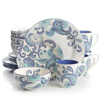 Laurie Gates Roxanna 16-Piece Dinnerware Set in White/Blue  sc 1 st  Bed Bath u0026 Beyond & Buy Blue White Dinnerware Sets from Bed Bath u0026 Beyond