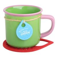 Multiple Choice® Two-Tone Stonenamel Mug and Coaster Set in Green/Pink