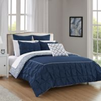 Chic Home Keppel 10-Piece Reversible Queen Comforter Set in Navy