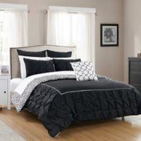 Chic Home Keppel 10-Piece Reversible King Comforter Set in Black