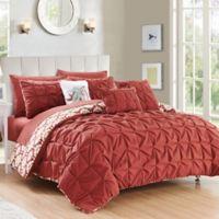 Chic Home Rahab Reversible 10-Piece King Comforter Set in Brick