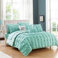 Chic Home Rahab Reversible 10-Piece Queen Comforter Set in Aqua