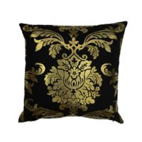 Kensie Oliver Square Throw Pillow Cover in Black/Gold