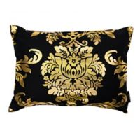 Kensie Oliver Oblong Throw Pillow Cover in Black/Gold