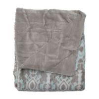Kensie Bexley Reversible Throw Blanket in Grey/Aqua