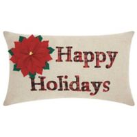 Mina Victory Holiday Happy Holidays Oblong Throw Pillow in Natural