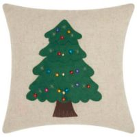 Mina Victory Holiday Beaded Christmas Tree Square Throw Pillow in Natural