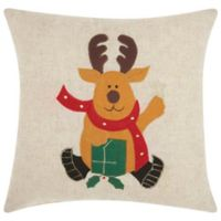 Mina Victory Holiday Waving Deer Square Throw Pillow in Natural