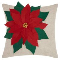 Mina Victory Holiday Oversized Poinsettia Square Throw Pillow in Natural