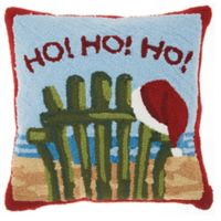 Mina Victory Hohoho 18-Inch Throw Pillow in Beach Blue/Red