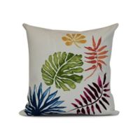 E by Design Brambles Floral Print Square Throw Pillow in Coral