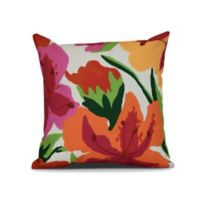 Tropical Floral Print Square Throw Pillow in Bright Pink