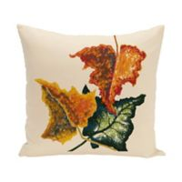 E by Design Autumn Colors Floral Print Square Throw Pillow in Off White