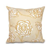 E by Design Spring Floral 2 Square Throw Pillow in Gold