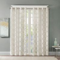 Madison Park Eden Fretwork Burnout Sheer 84-Inch Grommet Top Window Curtain Panel in Ivory