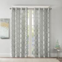 Madison Park Eden Fretwork Burnout Sheer 63-Inch Grommet Top Window Curtain Panel in Grey