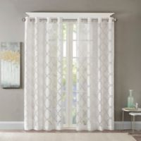 Madison Park Eden Fretwork Burnout Sheer 84-Inch Grommet Top Window Curtain Panel in White