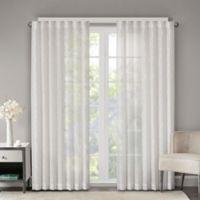Madison Park Lorne Sheer 84-Inch Rod Pocket/Back Tab Window Curtain Panel in White
