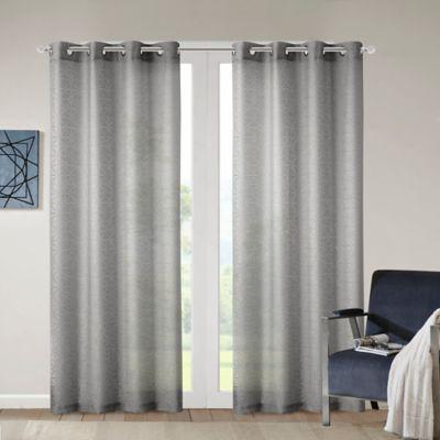 madison park kina geo burnout sheer 63inch grommet top window curtain panel in grey - Window Sheers