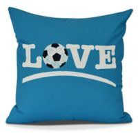 Love Soccer Square Throw Pillow in Teal