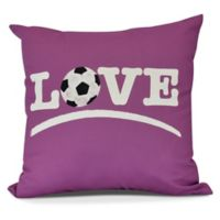 Love Soccer Square Throw Pillow in Pink