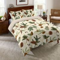 Laural Home® Pinecone Queen Duvet Cover in Ecru/Green