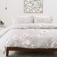 Deny Designs Holli Zollinger Linen Floral Twin Duvet Cover in Green/Grey