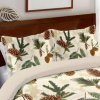 Laural Home® Pinecone Standard Pillow Sham in Ecru/Green