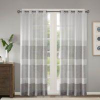 Madison Park Hayden Striped Sheer 84 Inch Grommet Top Window Curtain Panel In Grey
