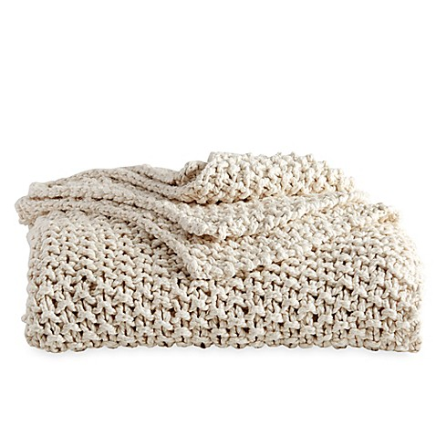 image of DKNYpure® Silky Chunky Knit Throw Blanket in Natural