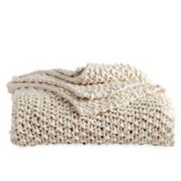 DKNYpure® Silky Chunky Knit Throw Blanket in Natural