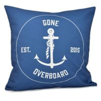 """""""Gone Overboard"""" Anchor Square Throw Pillow in Blue"""