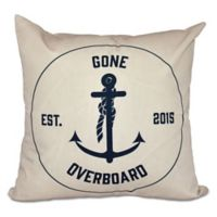 """""""Gone Overboard"""" Anchor Square Throw Pillow in Taupe/Beige"""