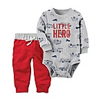 carter's® Size 3M 2-Piece  Little Hero  Bodysuit and Pant Set in Grey/Red