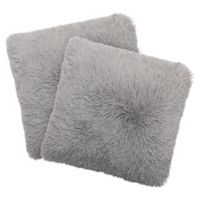 Dolce Home Alexus Shag Square Throw Pillow in Light Grey (Set of 2)