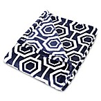 Trend Lab® Hexagon Plush Baby Blanket in Navy/White