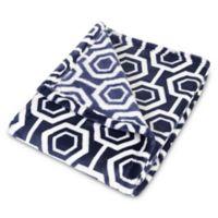 Trend Lab® Hexagon Plush Baby Blanket in Navy/White
