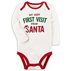"carter's Size 3M ""My Very First Visit from Santa"" Long Sleeve Bodysuit in White"