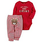carter's® Newborn 2-Piece  My Very First Christmas  Long Sleeve Bodysuit and Pant Set in Red